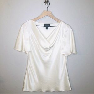 St. John Ivory Cowl Neck Triacetate Silk Top